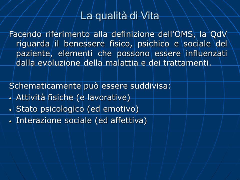 La qualità di Vita Facendo riferimento alla definizione dellOMS, la QdV riguarda il benessere fisico, psichico e sociale del paziente, elementi che po