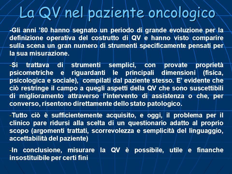 La QV nel paziente oncologico -Gli anni 80 hanno segnato un periodo di grande evoluzione per la definizione operativa del costrutto di QV e hanno vist