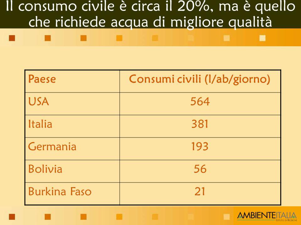 Il consumo civile è circa il 20%, ma è quello che richiede acqua di migliore qualità PaeseConsumi civili (l/ab/giorno) USA564 Italia381 Germania193 Bolivia56 Burkina Faso21