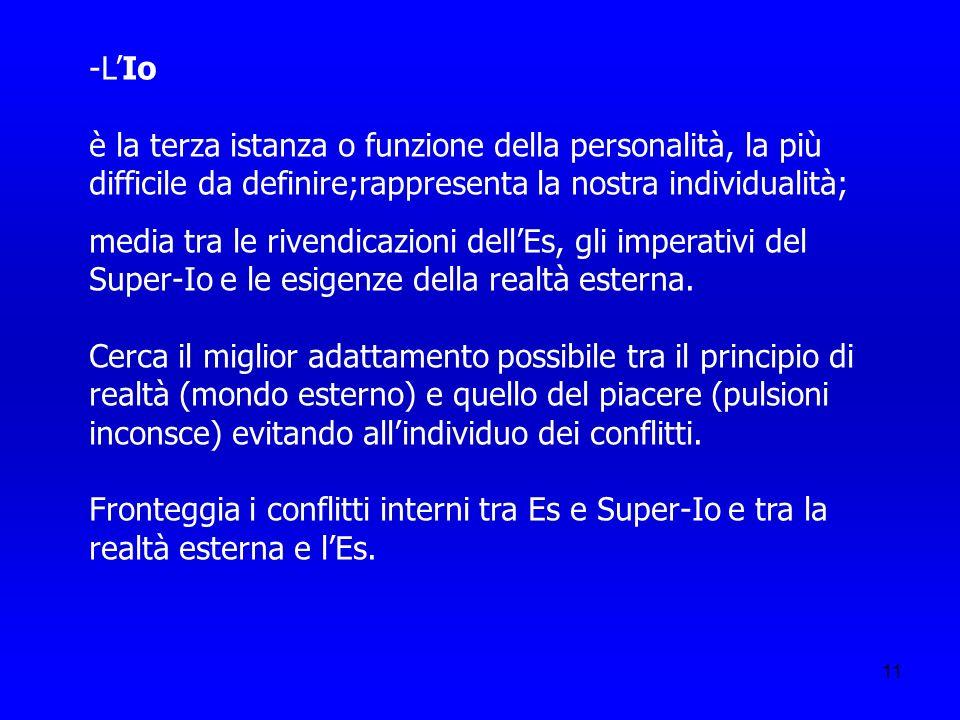 11 -LIo è la terza istanza o funzione della personalità, la più difficile da definire;rappresenta la nostra individualità; media tra le rivendicazioni