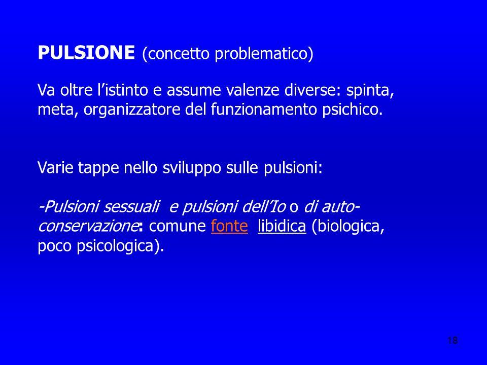 18 PULSIONE (concetto problematico) Va oltre listinto e assume valenze diverse: spinta, meta, organizzatore del funzionamento psichico. Varie tappe ne