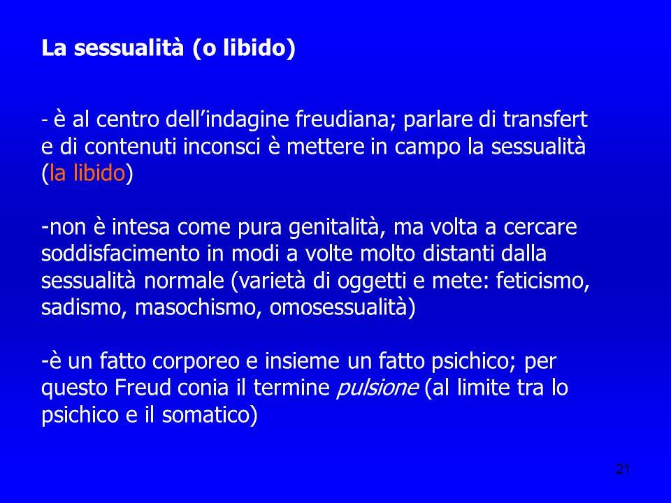 21 La sessualità (o libido) - è al centro dellindagine freudiana; parlare di transfert e di contenuti inconsci è mettere in campo la sessualità (la li