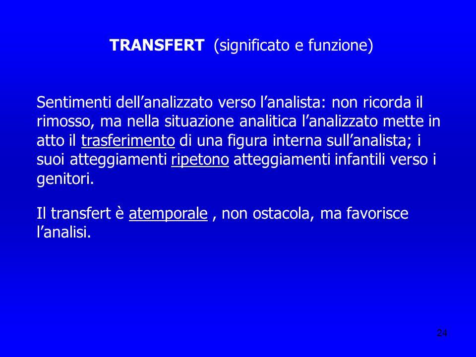 24 TRANSFERT (significato e funzione) Sentimenti dellanalizzato verso lanalista: non ricorda il rimosso, ma nella situazione analitica lanalizzato met