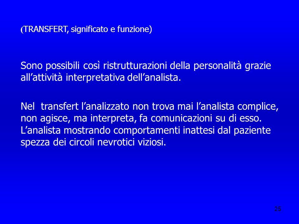 25 ( TRANSFERT, significato e funzione) Sono possibili così ristrutturazioni della personalità grazie allattività interpretativa dellanalista. Nel tra