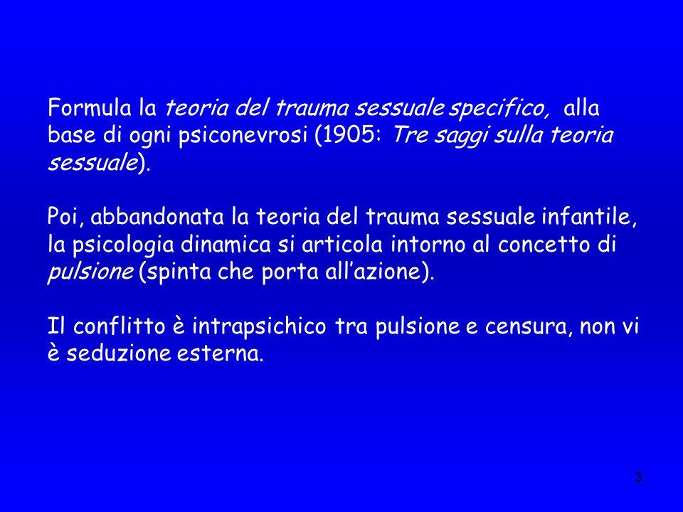 3 Formula la teoria del trauma sessuale specifico, alla base di ogni psiconevrosi (1905: Tre saggi sulla teoria sessuale). Poi, abbandonata la teoria