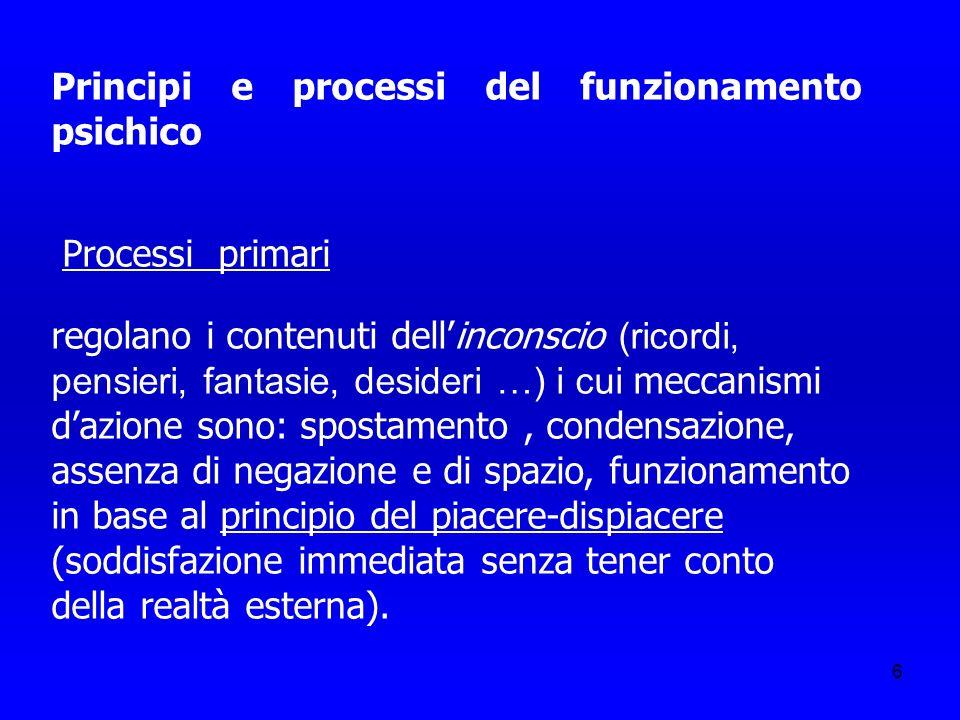 7 Processi secondari (attenzione, percezione, giudizio, memoria ecc.) caratteristici del pensiero cosciente e razionale, obbediscono a leggi logiche e spazio-temporali; sono regolati dal principio di realtà (la scarica viene differita); per Freud sono onto- e filogeneticamente posteriori ai processi primari.