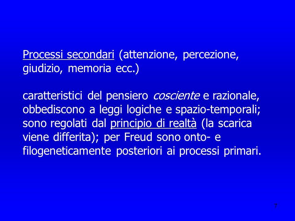 7 Processi secondari (attenzione, percezione, giudizio, memoria ecc.) caratteristici del pensiero cosciente e razionale, obbediscono a leggi logiche e