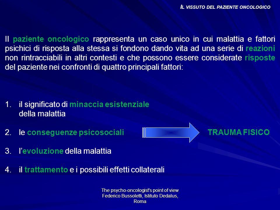 La comunicazione della diagnosi di un tumore ha tutte le caratteristiche di quello che viene definito uno shock da trauma.