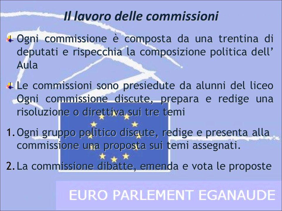 Ogni commissione è composta da una trentina di deputati e rispecchia la composizione politica dell Aula Le commissioni sono presiedute da alunni del l