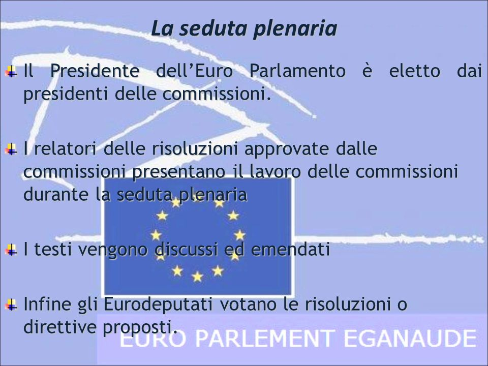 Il Presidente dellEuro Parlamento è eletto dai presidenti delle commissioni. I relatori delle risoluzioni approvate dalle commissioni presentano il la