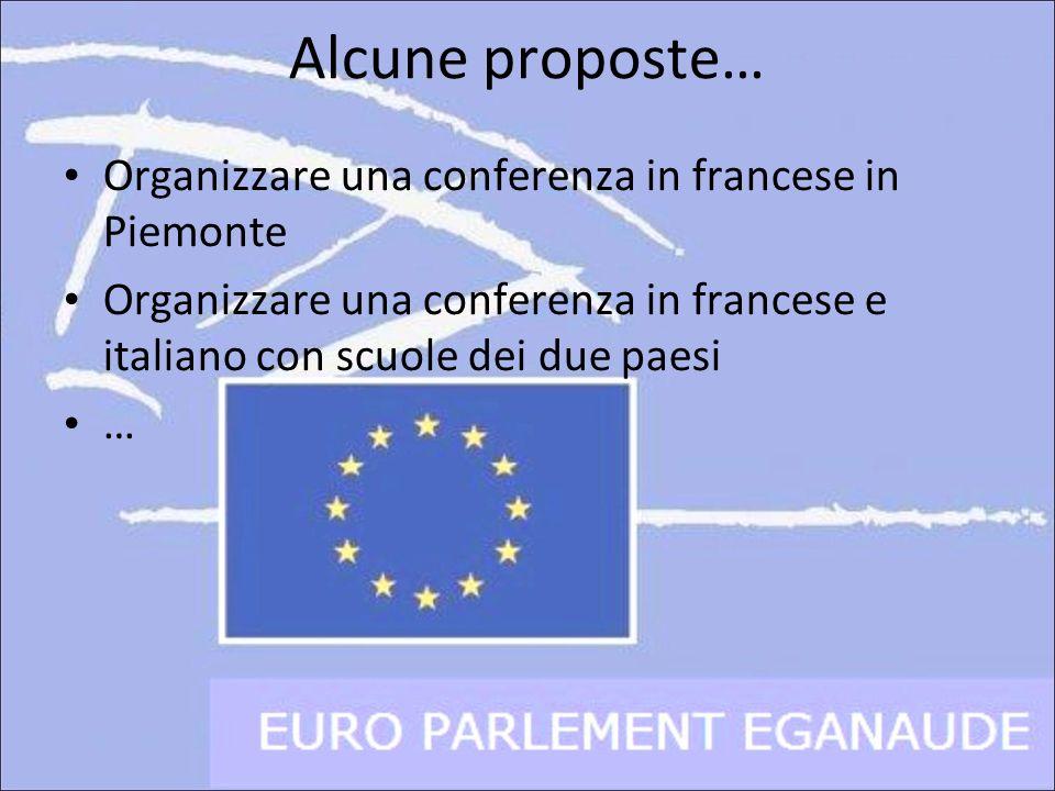 Alcune proposte… Organizzare una conferenza in francese in Piemonte Organizzare una conferenza in francese e italiano con scuole dei due paesi …