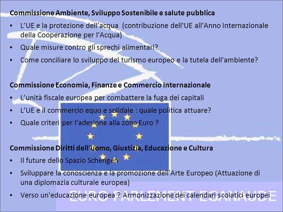 Commissione Ambiente, Sviluppo Sostenibile e salute pubblica LUE e la protezione dellacqua (contribuzione dell'UE all'Anno Internazionale della Cooper