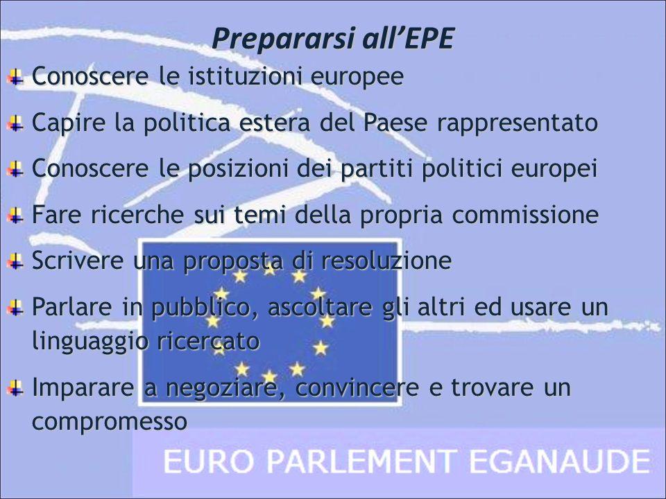 Prepararsi allEPE Conoscere le istituzioni europee Capire la politica estera del Paese rappresentato Conoscere le posizioni dei partiti politici europ