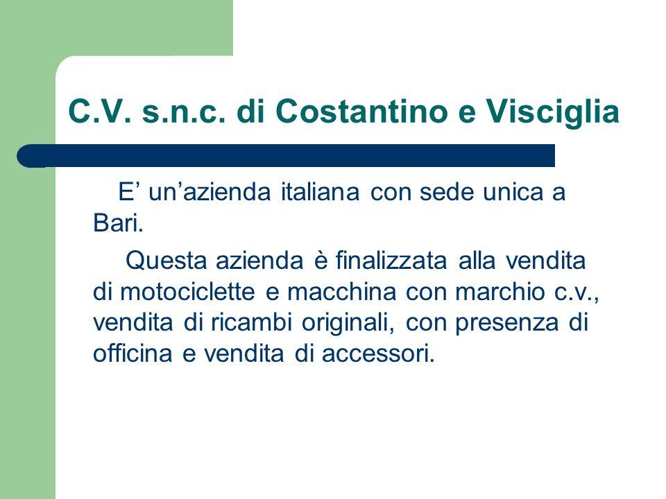 C.V. s.n.c. di Costantino e Visciglia E unazienda italiana con sede unica a Bari.