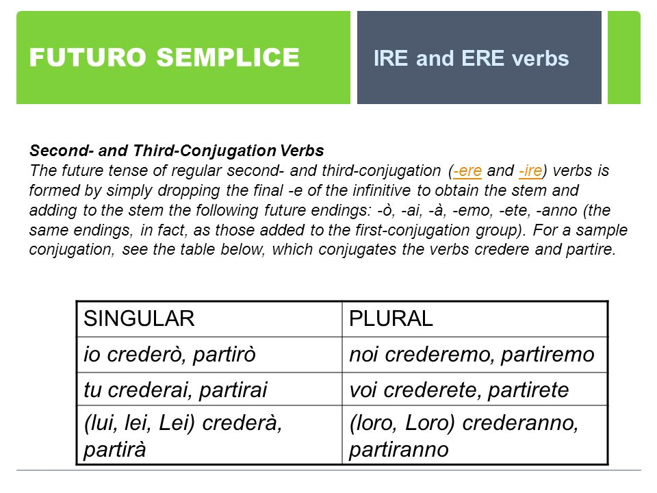 FUTURO SEMPLICE IRE and ERE verbs Second- and Third-Conjugation Verbs The future tense of regular second- and third-conjugation (-ere and -ire) verbs