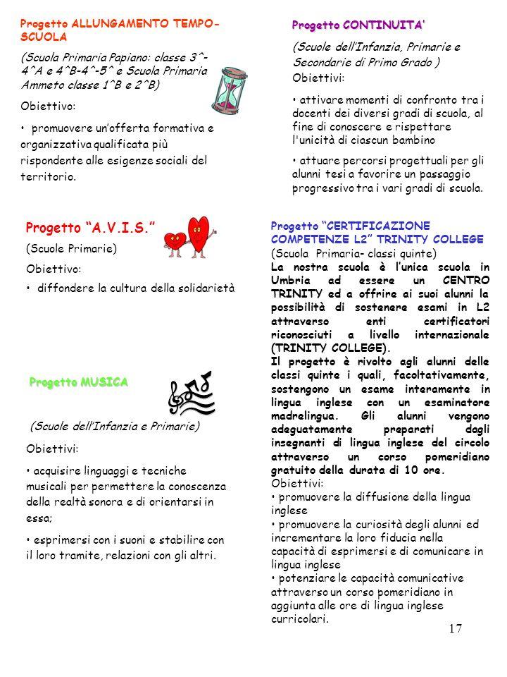 17 Progetto ALLUNGAMENTO TEMPO- SCUOLA (Scuola Primaria Papiano: classe 3^- 4^A e 4^B-4^-5^ e Scuola Primaria Ammeto classe 1^B e 2^B) Obiettivo: prom