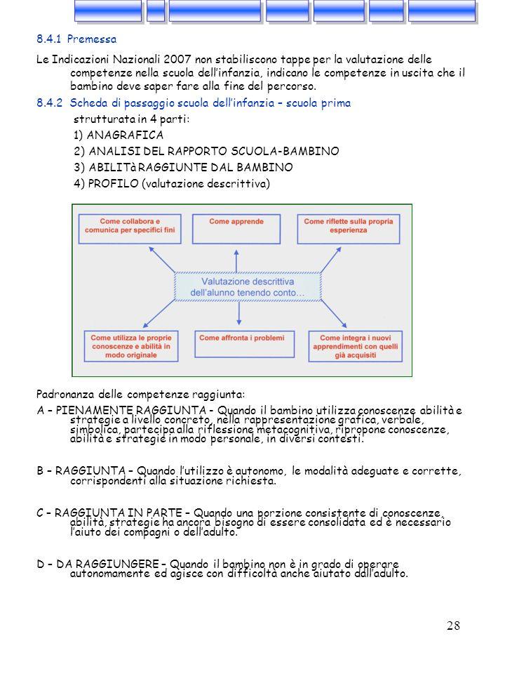 28 8.4.1 Premessa Le Indicazioni Nazionali 2007 non stabiliscono tappe per la valutazione delle competenze nella scuola dellinfanzia, indicano le comp