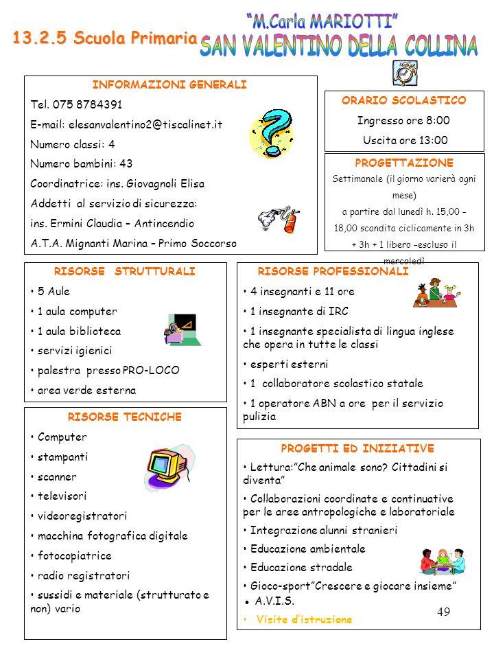 49 RISORSE PROFESSIONALI 4 insegnanti e 11 ore 1 insegnante di IRC 1 insegnante specialista di lingua inglese che opera in tutte le classi esperti est