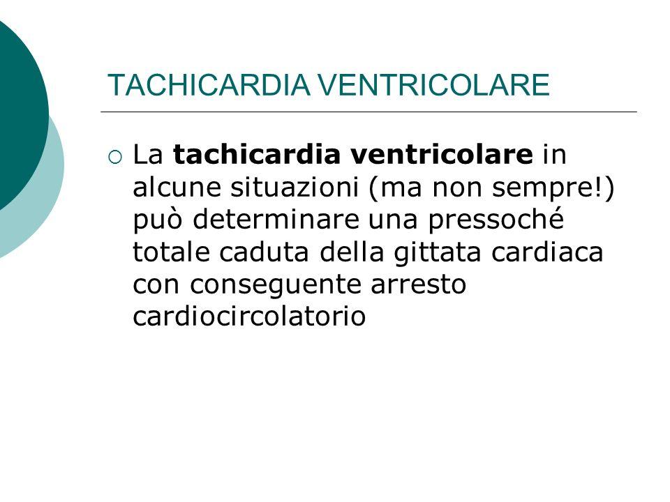 TACHICARDIA VENTRICOLARE La tachicardia ventricolare in alcune situazioni (ma non sempre!) può determinare una pressoché totale caduta della gittata c