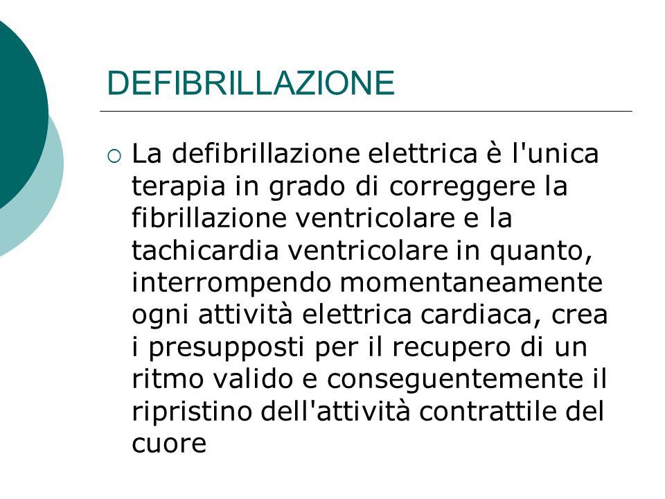 DEFIBRILLAZIONE La defibrillazione elettrica è l'unica terapia in grado di correggere la fibrillazione ventricolare e la tachicardia ventricolare in q