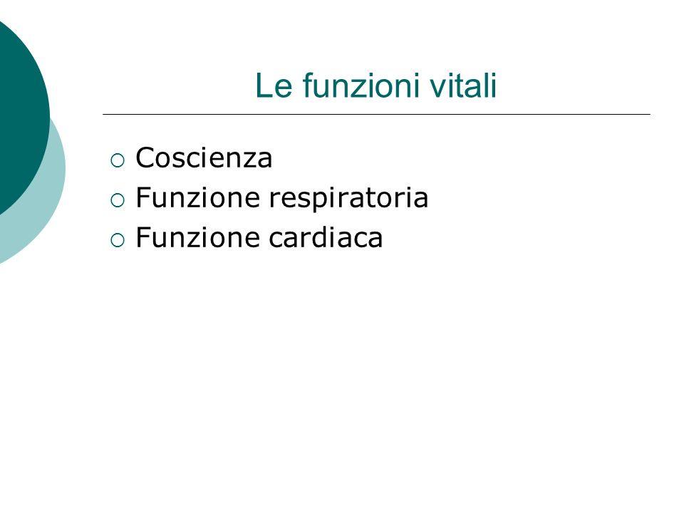 Le funzioni vitali Coscienza Funzione respiratoria Funzione cardiaca