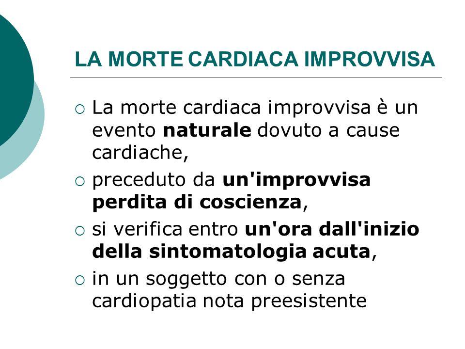 LA MORTE CARDIACA IMPROVVISA La morte cardiaca improvvisa è un evento naturale dovuto a cause cardiache, preceduto da un'improvvisa perdita di coscien