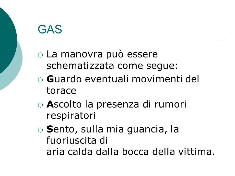 GAS La manovra può essere schematizzata come segue: Guardo eventuali movimenti del torace Ascolto la presenza di rumori respiratori Sento, sulla mia g