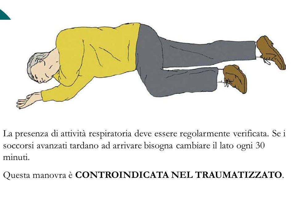 La presenza di attività respiratoria deve essere regolarmente verificata. Se i soccorsi avanzati tardano ad arrivare bisogna cambiare il lato ogni 30