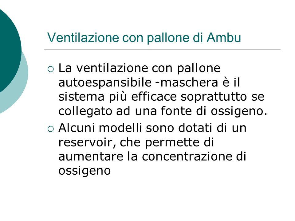 Ventilazione con pallone di Ambu La ventilazione con pallone autoespansibile -maschera è il sistema più efficace soprattutto se collegato ad una fonte