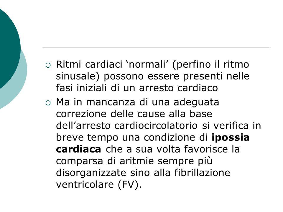 Ritmi cardiaci normali (perfino il ritmo sinusale) possono essere presenti nelle fasi iniziali di un arresto cardiaco Ma in mancanza di una adeguata c
