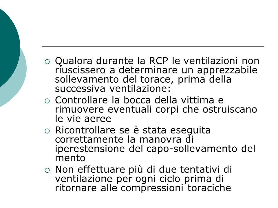 Qualora durante la RCP le ventilazioni non riuscissero a determinare un apprezzabile sollevamento del torace, prima della successiva ventilazione: Con