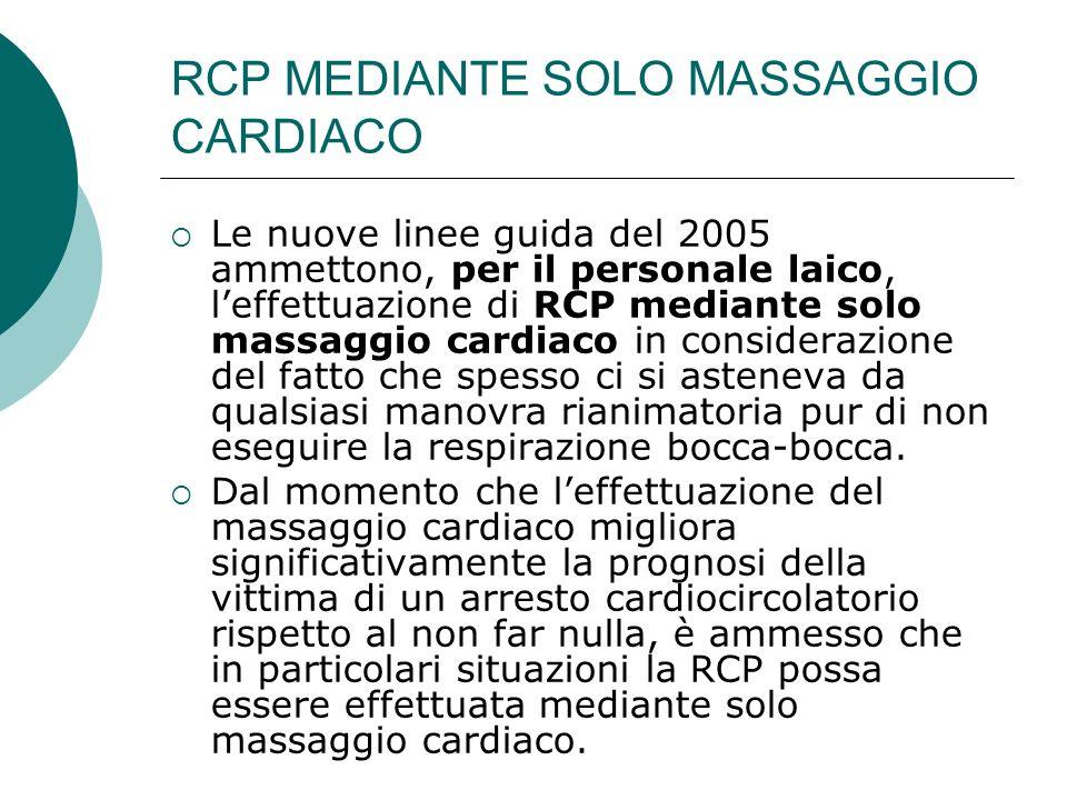 RCP MEDIANTE SOLO MASSAGGIO CARDIACO Le nuove linee guida del 2005 ammettono, per il personale laico, leffettuazione di RCP mediante solo massaggio ca