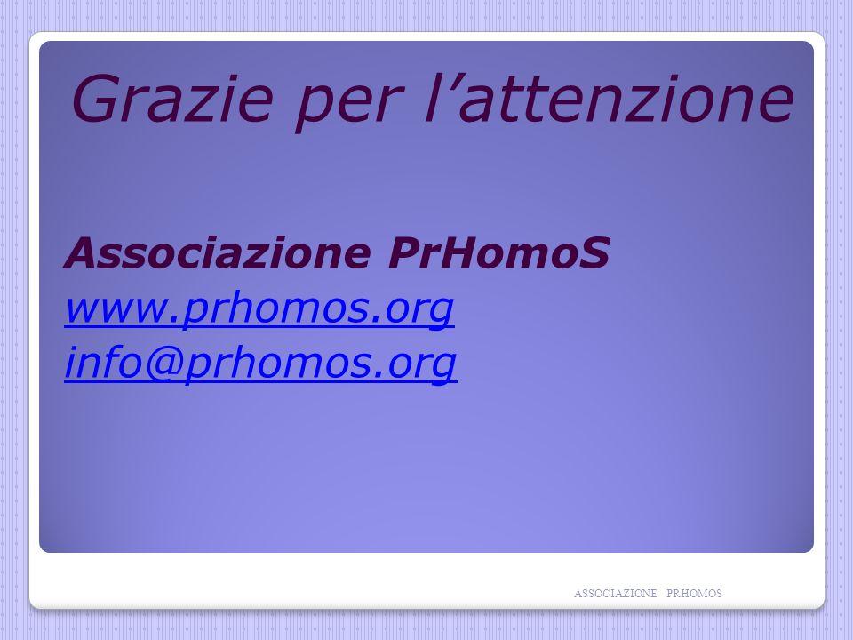 Grazie per lattenzione Associazione PrHomoS www.prhomos.org info@prhomos.org ASSOCIAZIONE PRHOMOS
