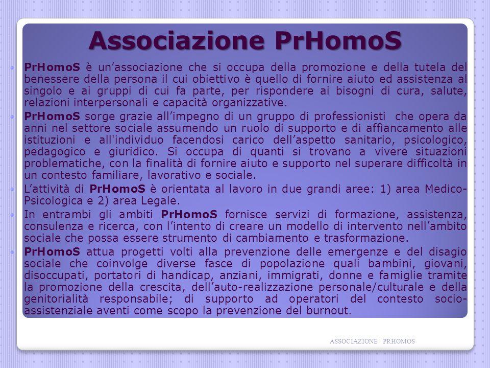 Associazione PrHomoS PrHomoS è unassociazione che si occupa della promozione e della tutela del benessere della persona il cui obiettivo è quello di fornire aiuto ed assistenza al singolo e ai gruppi di cui fa parte, per rispondere ai bisogni di cura, salute, relazioni interpersonali e capacità organizzative.