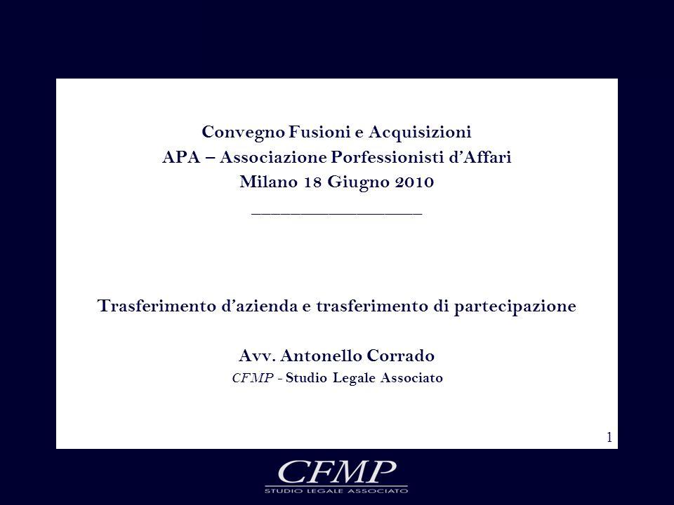 1 Convegno Fusioni e Acquisizioni APA – Associazione Porfessionisti dAffari Milano 18 Giugno 2010 __________________ Trasferimento dazienda e trasferi
