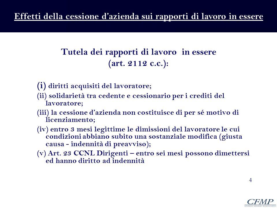 4 Tutela dei rapporti di lavoro in essere (art. 2112 c.c.): (i) diritti acquisiti del lavoratore; (ii) solidarietà tra cedente e cessionario per i cre