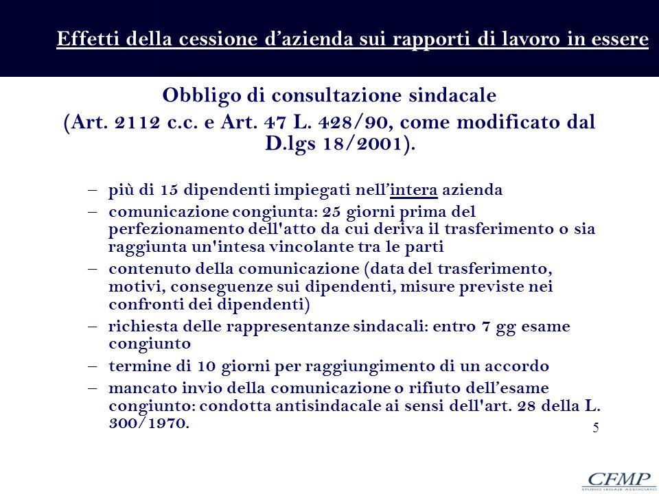 5 Obbligo di consultazione sindacale (Art. 2112 c.c. e Art. 47 L. 428/90, come modificato dal D.lgs 18/2001). – più di 15 dipendenti impiegati nellint