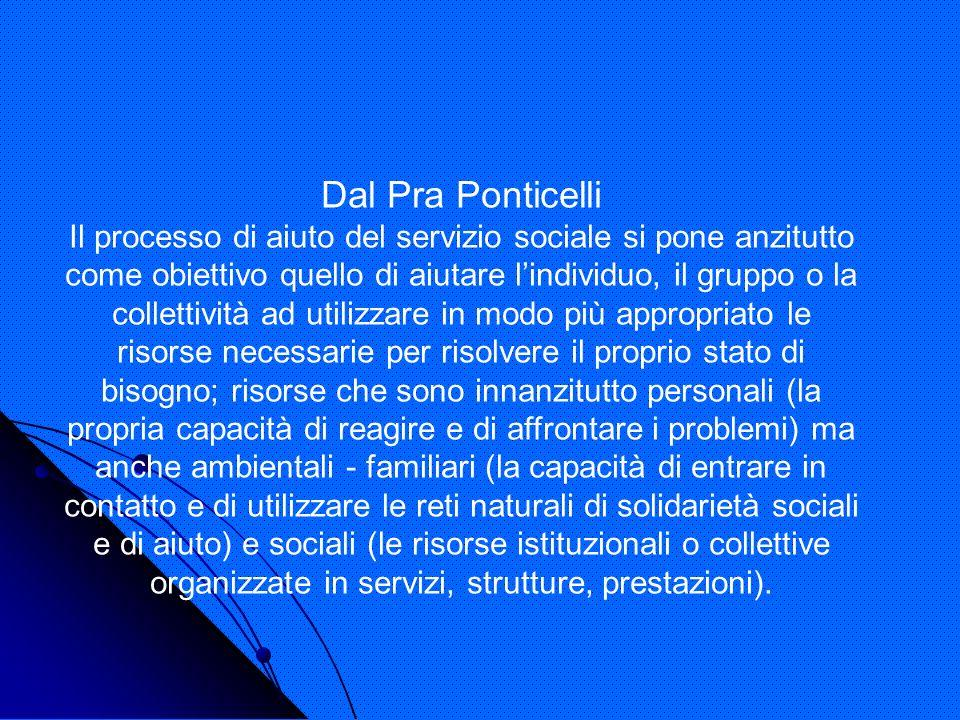 Dal Pra Ponticelli Il processo di aiuto del servizio sociale si pone anzitutto come obiettivo quello di aiutare lindividuo, il gruppo o la collettivit