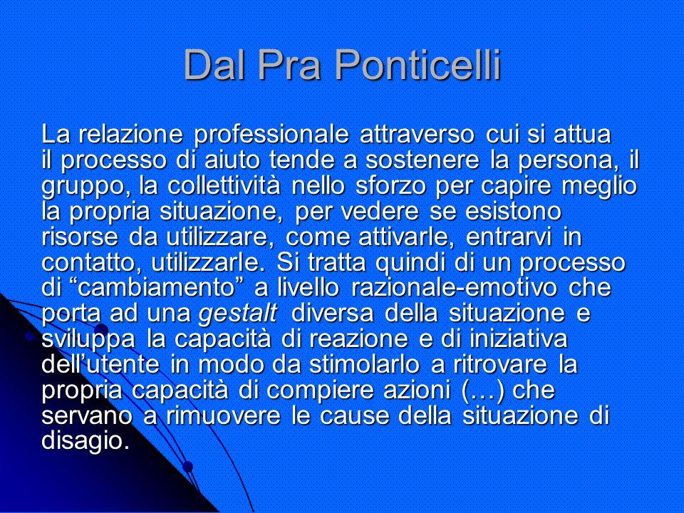 Dal Pra Ponticelli La relazione professionale attraverso cui si attua il processo di aiuto tende a sostenere la persona, il gruppo, la collettività ne