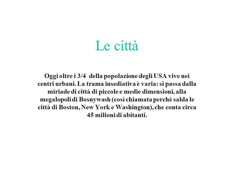Le città Oggi oltre i 3/4 della popolazione degli USA vive nei centri urbani. La trama insediativa è varia: si passa dalla miriade di città di piccole