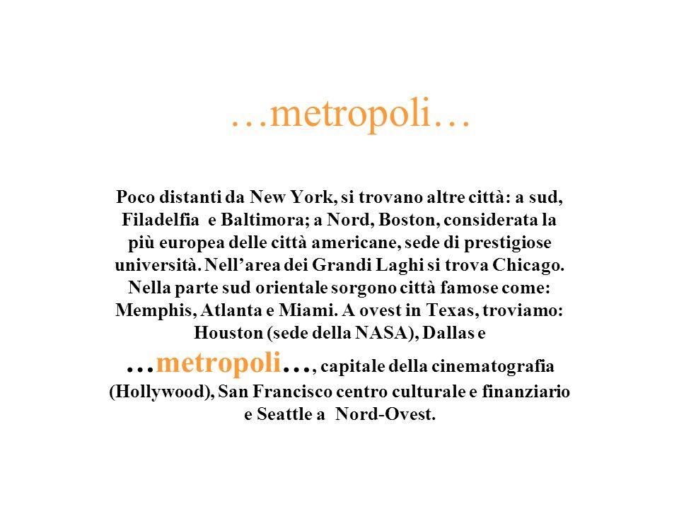 …metropoli… Poco distanti da New York, si trovano altre città: a sud, Filadelfia e Baltimora; a Nord, Boston, considerata la più europea delle città a