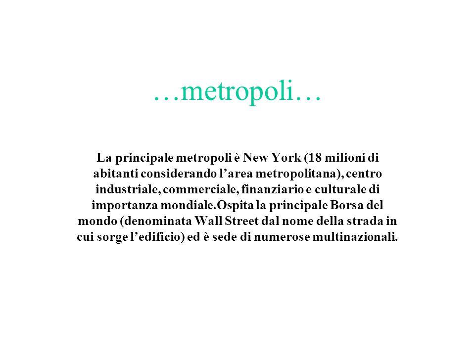 …metropoli… La principale metropoli è New York (18 milioni di abitanti considerando larea metropolitana), centro industriale, commerciale, finanziario