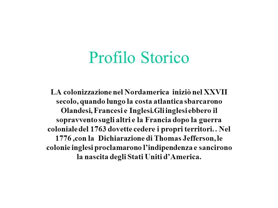 Profilo Storico LA colonizzazione nel Nordamerica iniziò nel XXVII secolo, quando lungo la costa atlantica sbarcarono Olandesi, Francesi e Inglesi.Gli
