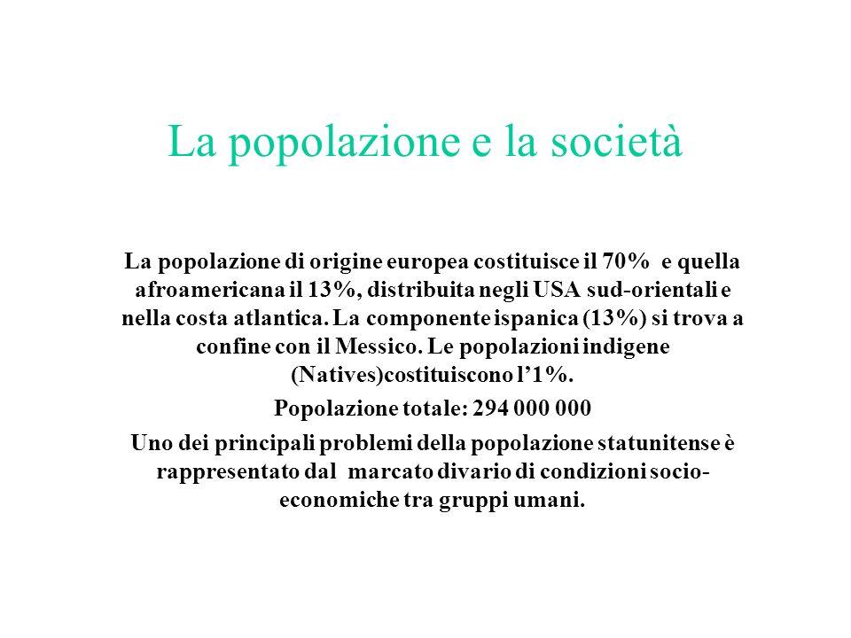 La popolazione e la società La popolazione di origine europea costituisce il 70% e quella afroamericana il 13%, distribuita negli USA sud-orientali e