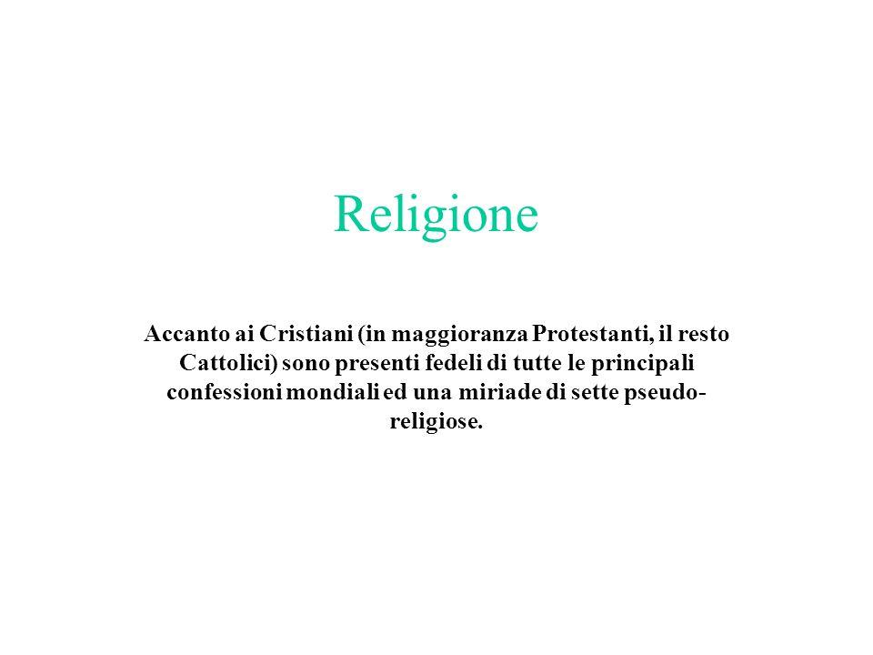 Religione Accanto ai Cristiani (in maggioranza Protestanti, il resto Cattolici) sono presenti fedeli di tutte le principali confessioni mondiali ed un