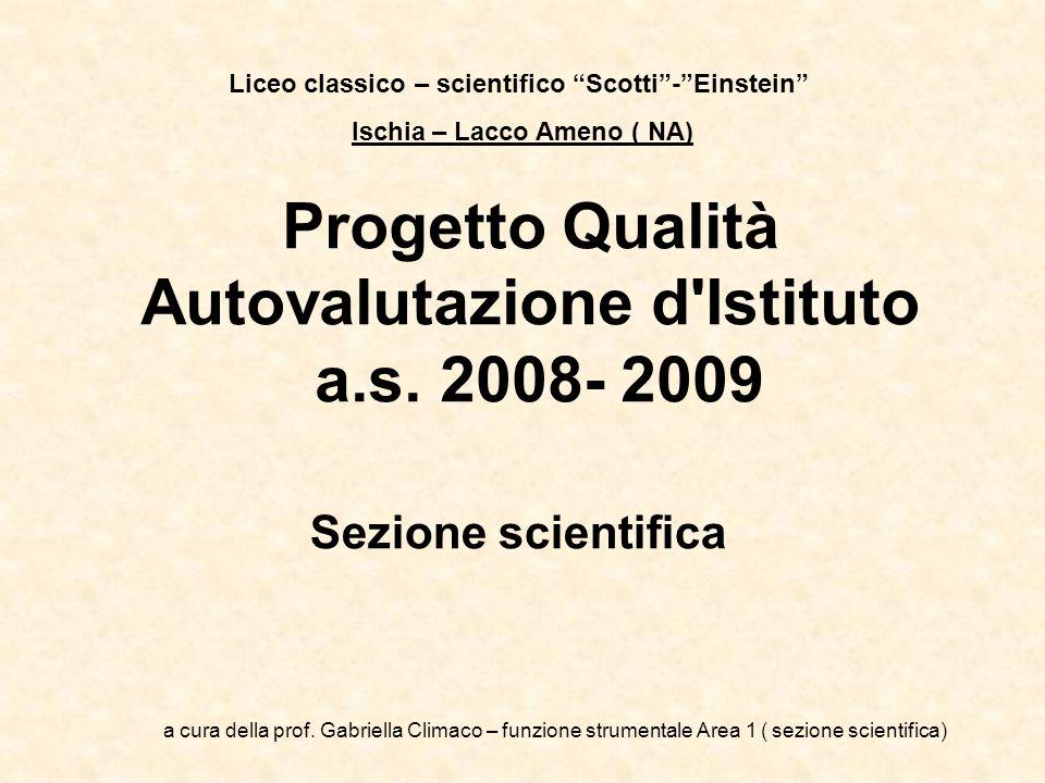 Progetto Qualità Autovalutazione d'Istituto a.s. 2008- 2009 Sezione scientifica Liceo classico – scientifico Scotti-Einstein Ischia – Lacco Ameno ( NA