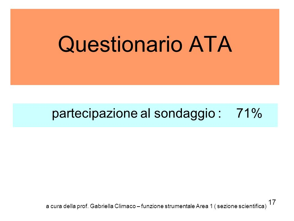 Questionario ATA partecipazione al sondaggio : 71% 17 a cura della prof. Gabriella Climaco – funzione strumentale Area 1 ( sezione scientifica)