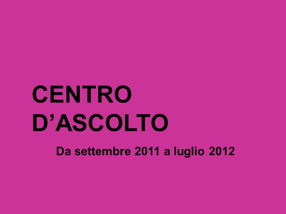 CENTRO DASCOLTO Da settembre 2011 a luglio 2012