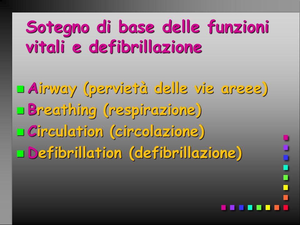 Sotegno di base delle funzioni vitali e defibrillazione n Airway (pervietà delle vie areee) n Breathing (respirazione) n Circulation (circolazione) n