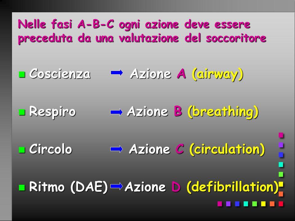 Nelle fasi A-B-C ogni azione deve essere preceduta da una valutazione del soccoritore n Coscienza Azione A (airway) n Respiro Azione B (breathing) n C